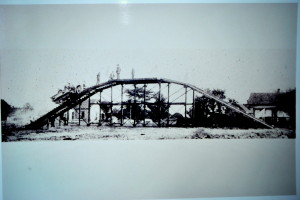 This structure was erected in a field across the street from the Lambert factory as a test for newly completed Lambert vehicles.
